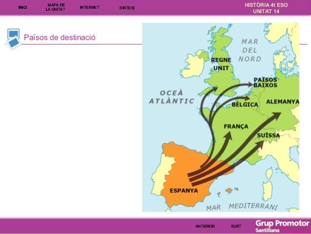INICI  MAPA DE LA UNITA T  INTE RNE T  HISTÒRIA 4t ESO UNITAT 14  SÍNTESI  Països de destinació  ANTERIOR  SURT