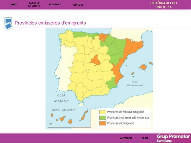INICI  MAPA DE LA UNITA T  INTE RNE T  HISTÒRIA 4t ESO UNITAT 14  SÍNTESI  Províncies emissores d'emigrants  ANTERIOR  SUR...