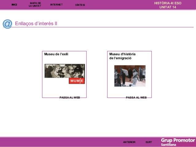 INICI  MAPA DE LA UNITA T  INTE RNE T  HISTÒRIA 4t ESO UNITAT 14  SÍNTESI  Enllaços d'interès II  Museu de l'exili  PASSA ...