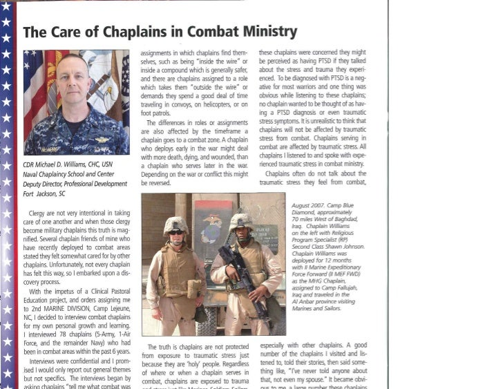 The Care of Chaplains in Combat Ministry