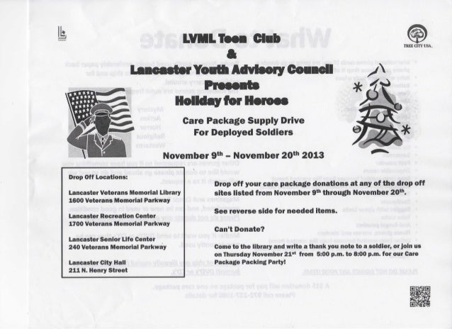 Ik  LVML Teen Club * Lancaster Youtt Advisory Coaacll  TREE C m USA.  Holiday for Heroes Care Package Supply Drive For Dep...