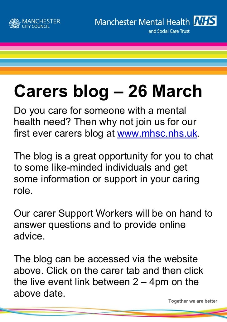 Carers blog – 26 MarchDo you care for someone with a mentalhealth need? Then why not join us for ourfirst ever carers blog...