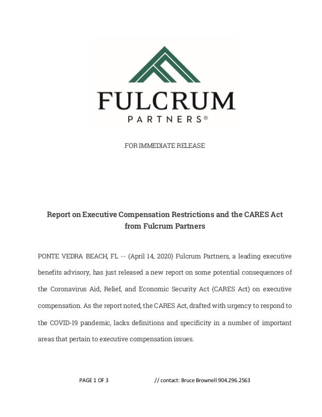PAGE 1 OF 3 // contact: Bruce Brownell 904.296.2563 FOR IMMEDIATE RELEASE Report on Executive Compensation Restrictions an...