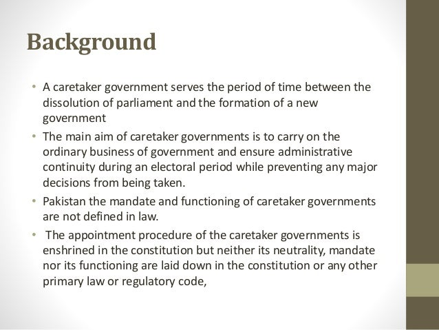 Caretaker government and election in pakistan