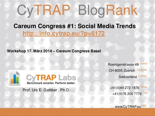 CyTRAP.eu  CyTRAP BlogRank  Careum Congress #1: Social Media Trends http://info.cytrap.eu/?p=6172 Workshop 17. März 2014 –...