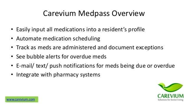 Carevium eMAR Medication Management for Assisted Living v1 Slide 2