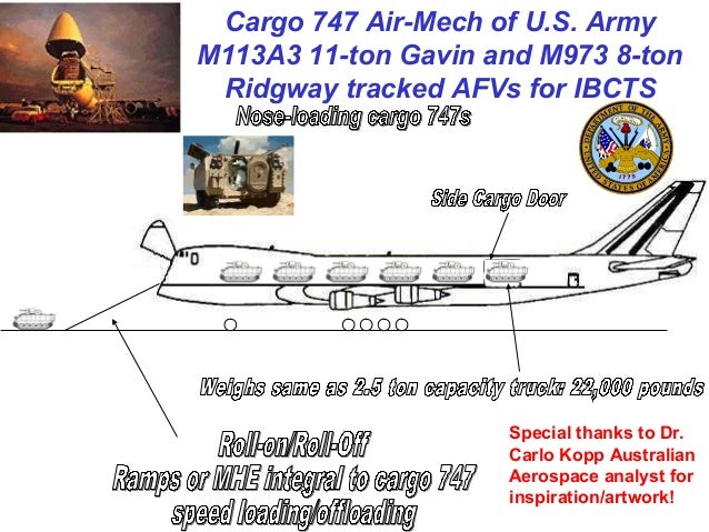 Cargo 747 Air-Mech of U.S. ArmyM113A3 11-ton Gavin and M973 8-ton Ridgway tracked AFVs for IBCTS                     Speci...