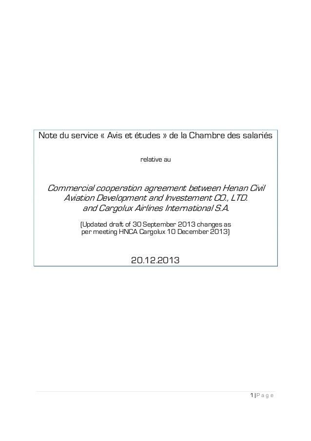 Note du service « Avis et études » de la Chambre des salariés relative au  Commercial cooperation agreement between Henan ...