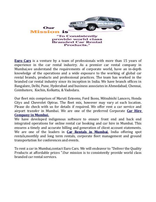 Corporate Car Hire Company In Mumbai