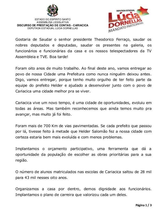 ESTADO DO ESPÍRITO SANTO            ASSEMBLÉIA LEGISLATIVADISCURSO DE PRESTAÇÃO DE CONTAS - CARIACICA      DEPUTADA ESTADU...