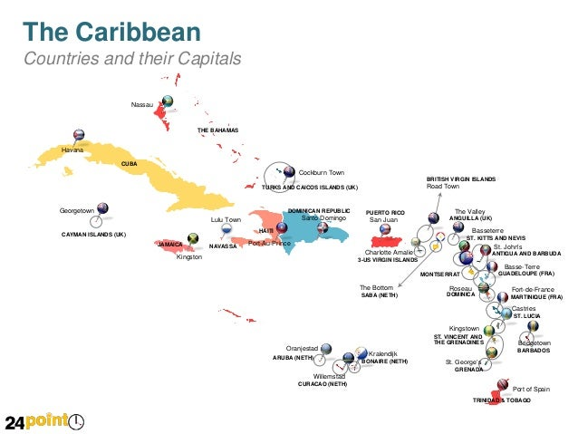 Caribbean Map  Editable PPT