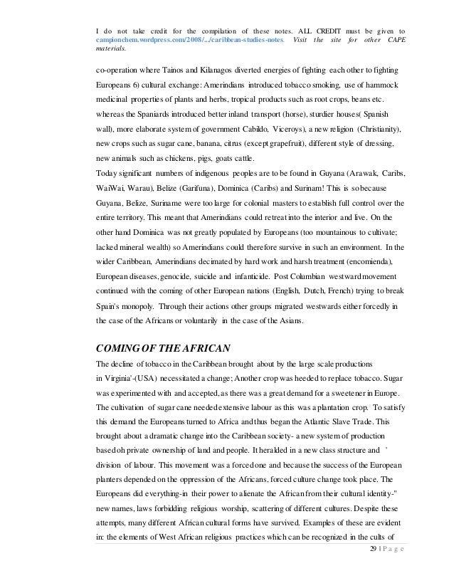 caribbean studies notes