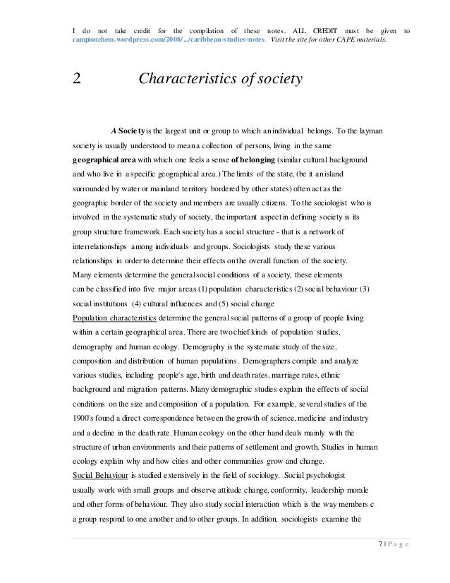 caribbean studies notes essay Am essay in cultural dynamics, foreword by claudia mitchell-kernan, center for  afro-american studies and ucla latin american center.