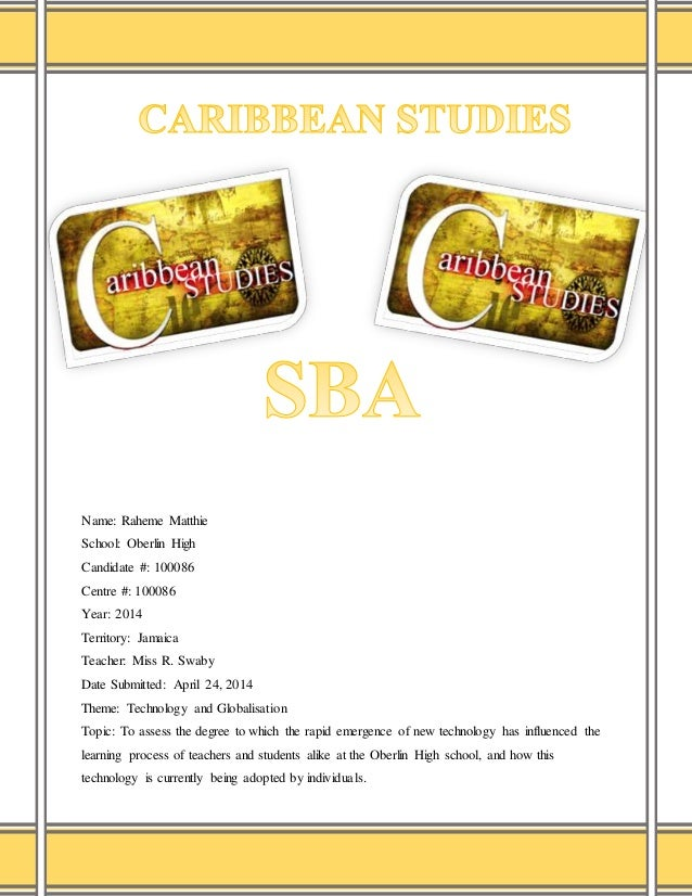 caribbean studies ia sample Selection of sample statetheapproximatesizeofthepopulationofthearea cape sba caribbean studies format similar to cape caribbean studies ia guide.