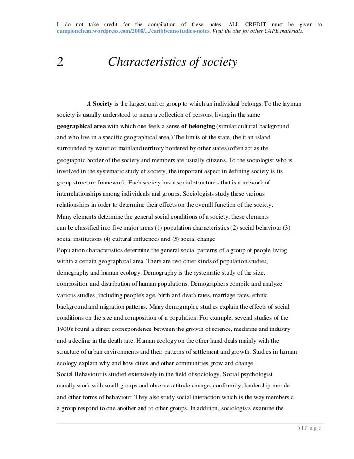 caribbean society essay Functionalism is inappropriate for the analysis of caribbean society discuss the caribbean is prominent for its natural beauty of tropical rainforests,.