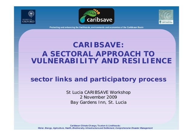 Protecting and enhancing the livelihoods, environments and economies of the Caribbean Basin CARIBSAVE: A SECTORAL APPROACH...