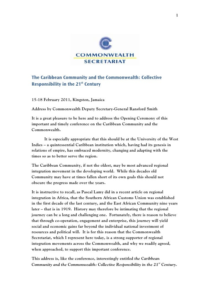 1The Caribbean Community and the Commonwealth: CollectiveResponsibility in the 21st Century15-18 February 2011, Kingston, ...