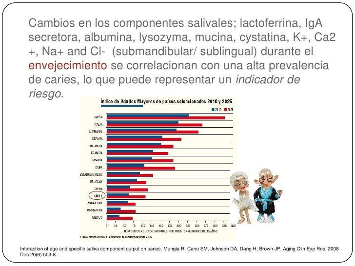 Cambios en los componentes salivales; lactoferrina, IgA   secretora, albumina, lysozyma, mucina, cystatina, K+, Ca2   +, N...