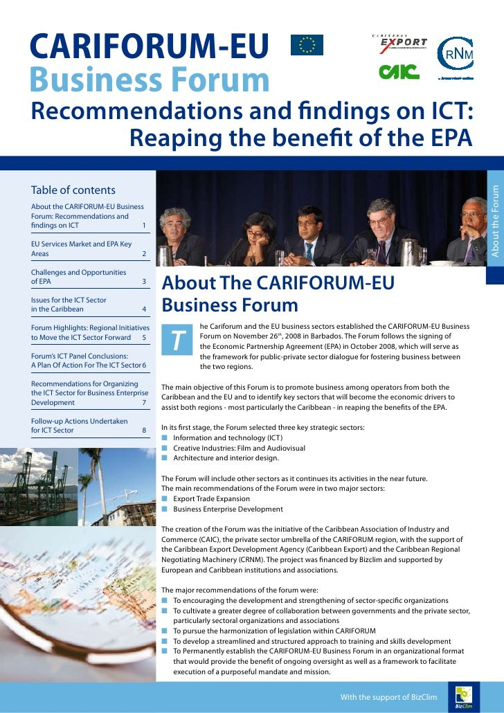 CARIFORUM-EUBusiness ForumRecommendations and findings on ICT:      Reaping the benefit of the EPATable of contents       ...