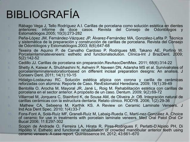BIBLIOGRAFÍA1. Rábago Vega J, Tello Rodríguez A.I. Carillas de porcelana como solución estética en dientesanteriores: info...