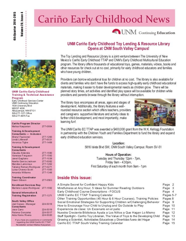 cari u00f1o early childhood ttap newsletter 4th quarter 2014