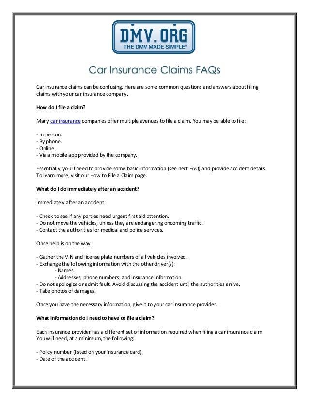 Car Insurance Claims FAQs