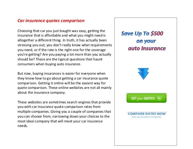 Get Insurance Quotes >> Car Insurance Quotes Comparison