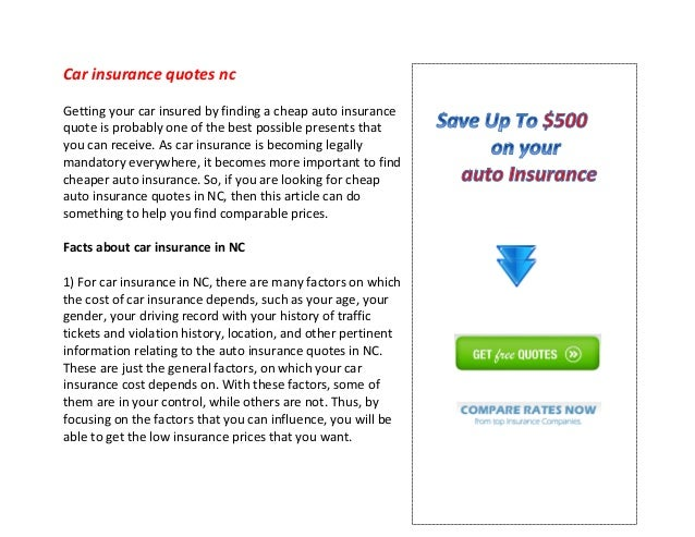 Car Insurance Quotes Nc Mesmerizing Car Insurance Quotes Nc