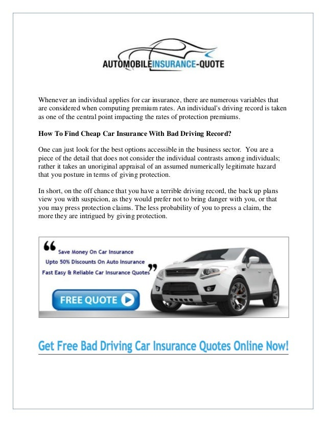 Where Can I Get Cheap Car Insurance With A Bad Driving Record