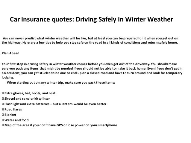 Car Insurance Quotes Driving Safely In Winter Weather
