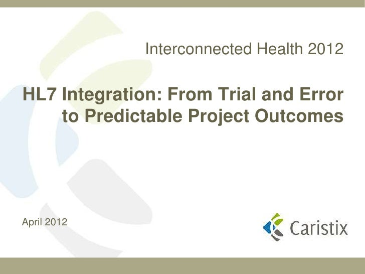 Interconnected Health 2012HL7 Integration: From Trial and Error    to Predictable Project OutcomesApril 2012