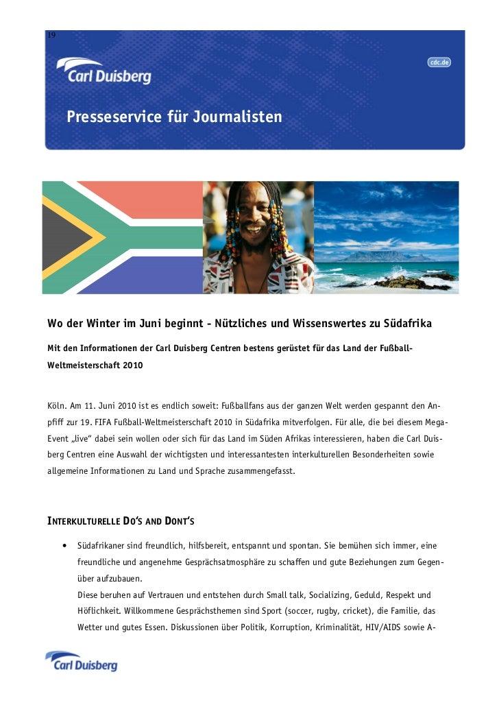19     Presseservice für JournalistenWo der Winter im Juni beginnt - Nützliches und Wissenswertes zu SüdafrikaMit den Info...