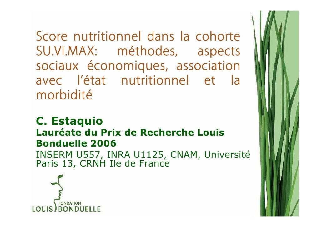 Score nutritionnel dans la cohorteSU.VI.MAX:    mé              méthodes,    aspectssociaux économiques, association      ...