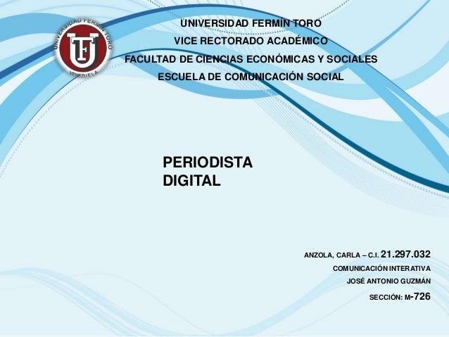 UNIVERSIDAD FERMÍN TORO        VICE RECTORADO ACADÉMICOFACULTAD DE CIENCIAS ECONÓMICAS Y SOCIALES     ESCUELA DE COMUNICAC...