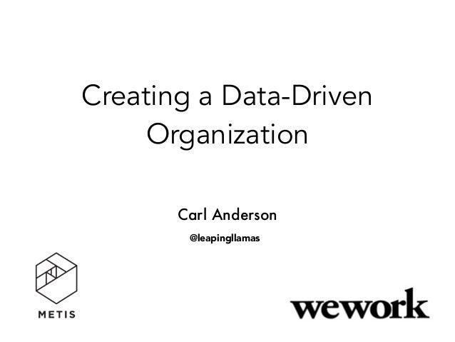 Creating a Data-Driven Organization Carl Anderson @leapingllamas