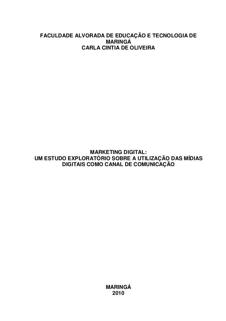FACULDADE ALVORADA DE EDUCAÇÃO E TECNOLOGIA DE                    MARINGÁ             CARLA CINTIA DE OLIVEIRA            ...