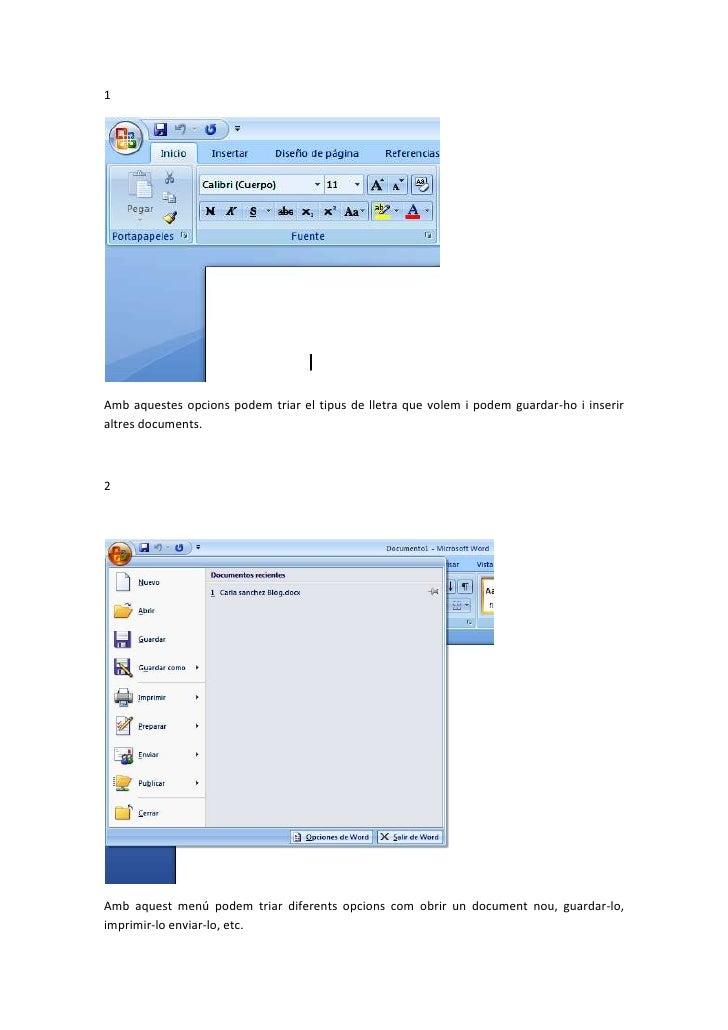 1Amb aquestes opcions podem triar el tipus de lletra que volem i podem guardar-ho i inseriraltres documents.2Amb aquest me...