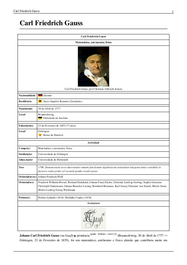 Carl Friedrich Gauss 1Carl Friedrich GaussCarl Friedrich GaussMatemática, astronomia, físicaCarl Friedrich Gauss, por Chri...