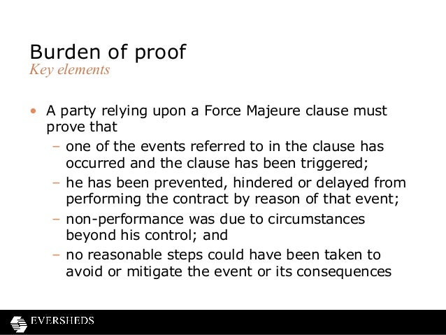 Force majeure and frustrated contracts