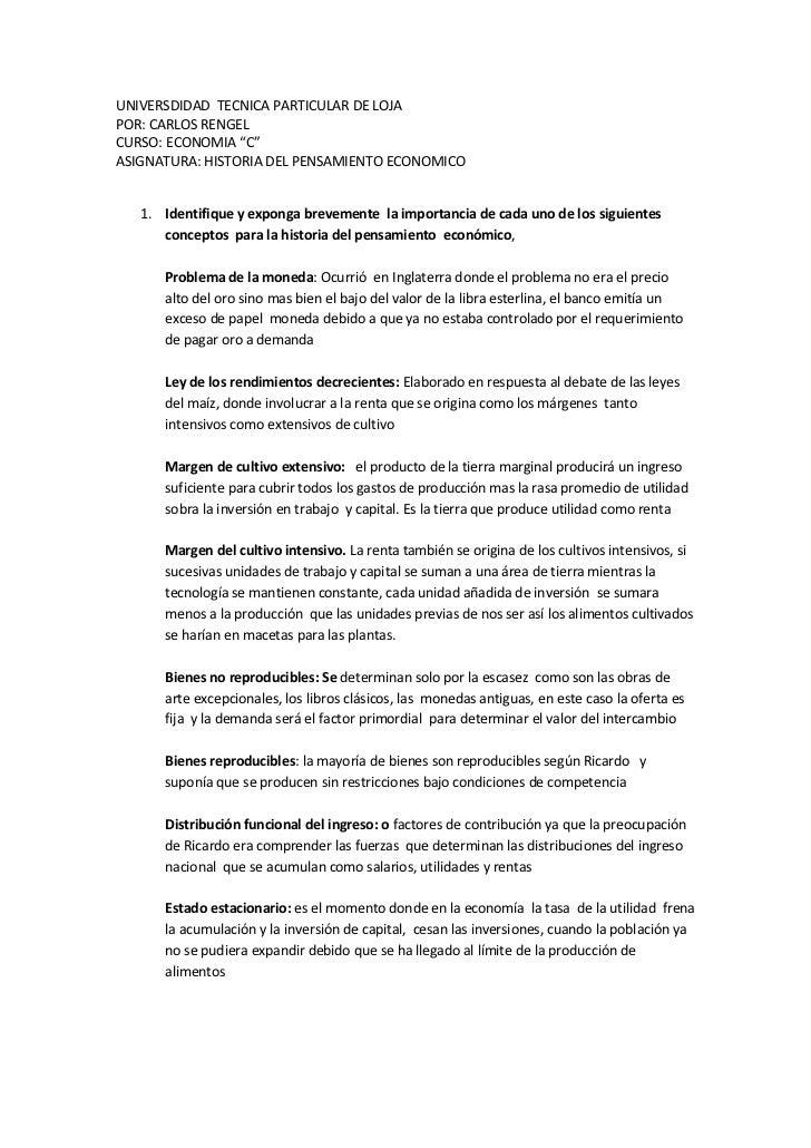 """UNIVERSDIDAD  TECNICA PARTICULAR DE LOJA <br />POR: CARLOS RENGEL <br />CURSO: ECONOMIA """"C""""<br />ASIGNATURA: HISTORIA DEL ..."""