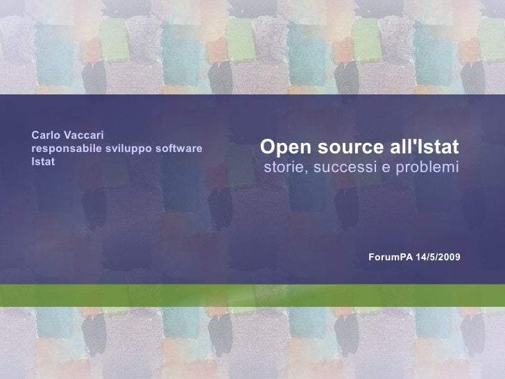 Carlo Vaccari responsabile sviluppo software   Open source all'Istat Istat                                  storie, succes...