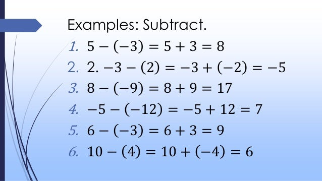 Integers Addition And Subtraction