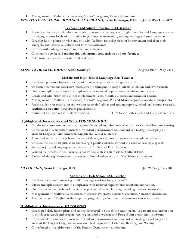 carlos a cabrera private english teacher resume