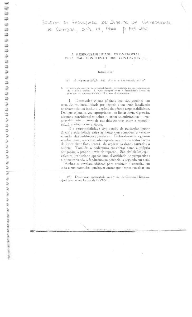 Carlos alberto da mota pinto   a responsabilidade pré-negocial pela não conclusão dos contratos