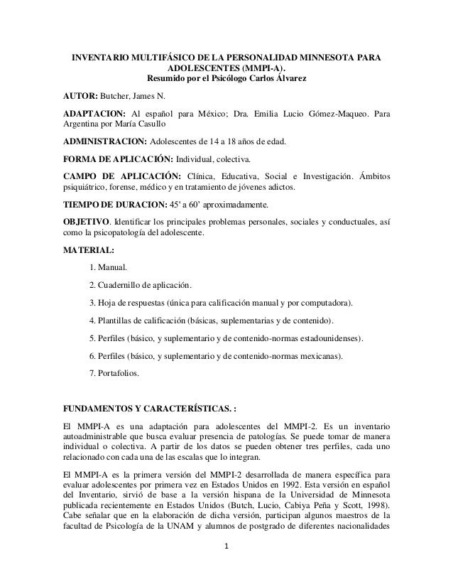 1 INVENTARIO MULTIFÁSICO DE LA PERSONALIDAD MINNESOTA PARA ADOLESCENTES (MMPI-A). Resumido por el Psicólogo Carlos Álvarez...