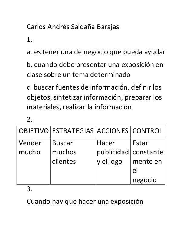 Carlos Andrés Saldaña Barajas 1. a. es tener una de negocio que pueda ayudar b. cuando debo presentar una exposición en cl...