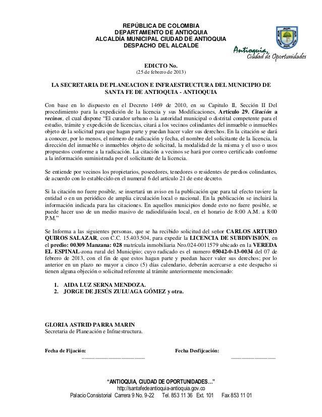 REPÚBLICA DE COLOMBIA                           DEPARTAMENTO DE ANTIOQUIA                      ALCALDÍA MUNICIPAL CIUDAD D...