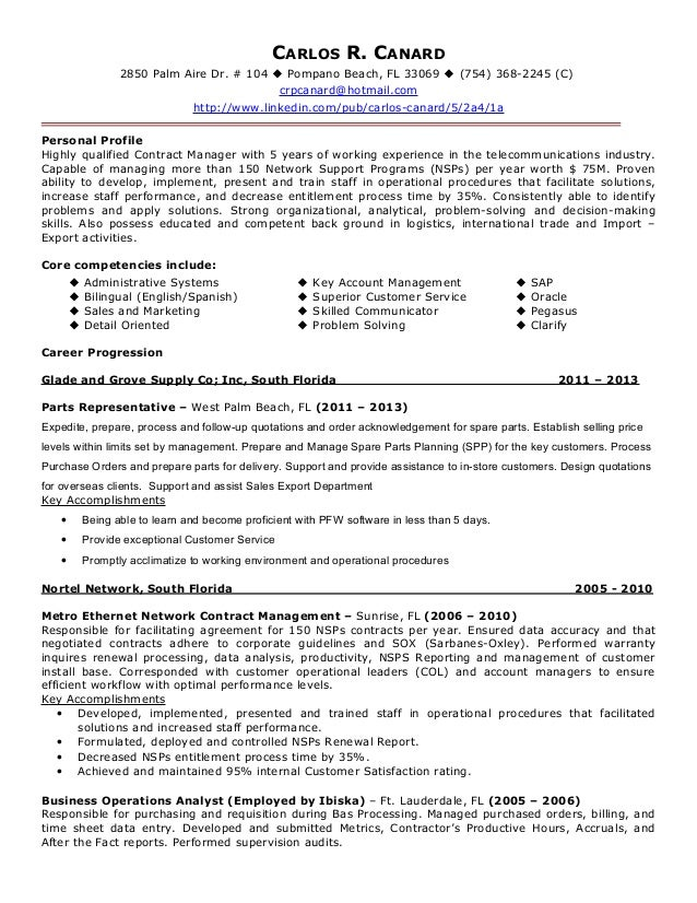 Resume Resume Example For Contract Manager carlos canard contract management resume rev 2014 r 2850 palm aire dr 104 pompano beach