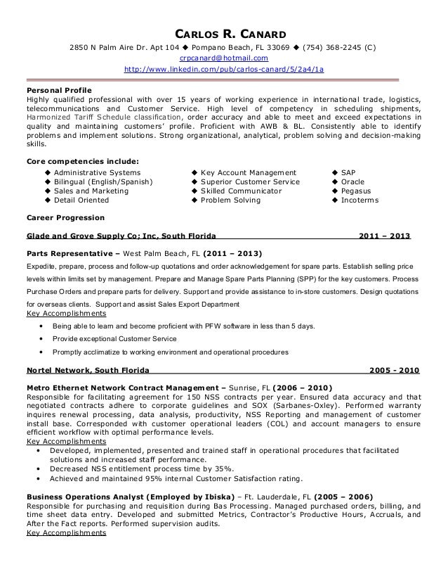Resume For Logistics Specialist - A Good Resume Example •