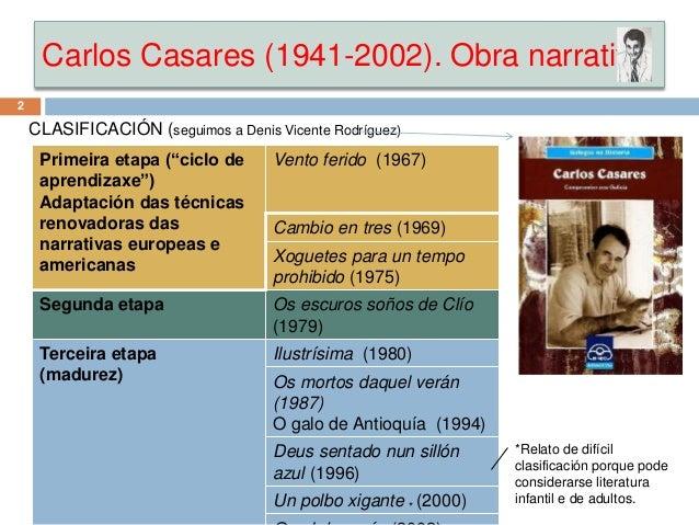 """Carlos Casares (1941-2002). Obra narrativa CLASIFICACIÓN (seguimos a Denis Vicente Rodríguez) Primeira etapa (""""ciclo de ap..."""